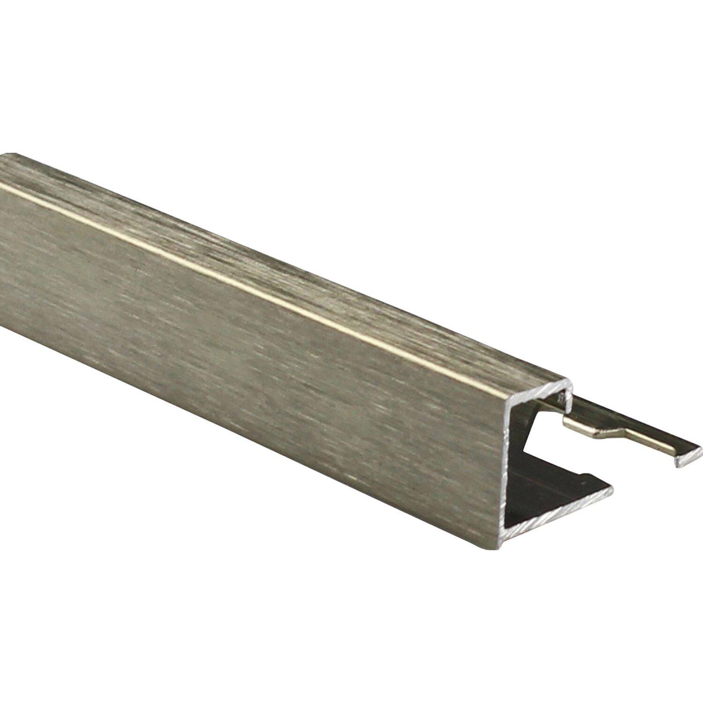 Profilo terminale quadrato alluminio color titanio for Piastrelle 2 mm