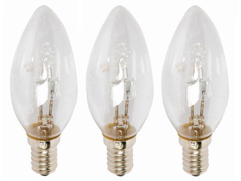 Lampada Alogena Tubolare E14 : Lampadina alogena forma a candela e14 28 w bianco caldo 3 pz