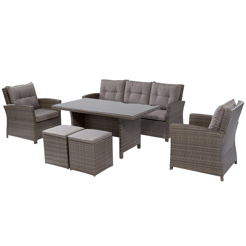 OBI set da giardino con tavolo e lettini Vermont 6 pz acquista da OBI
