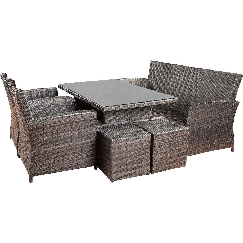 obi set da giardino con tavolo e lettini vermont 6 pz