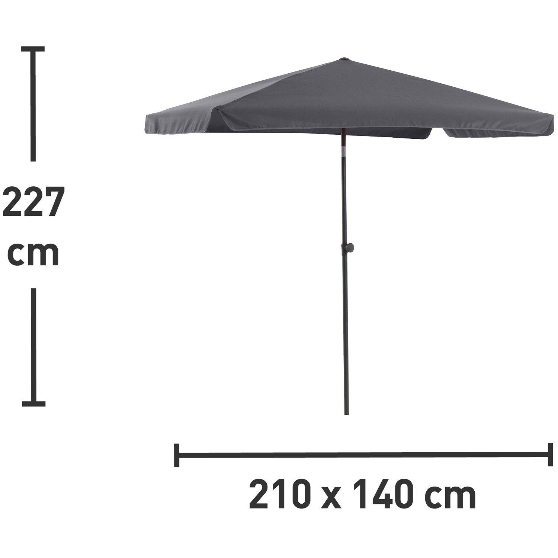 OBI ombrellone Hernando rettangolare antracite 210 cm x 140 cm ...