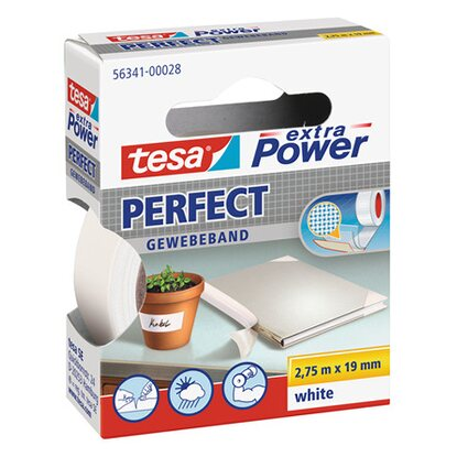 Tesa nastro telato Extra Power Perfect bianco 2,75 m x 19 mm