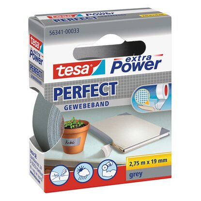 Tesa nastro telato Extra Power Perfect grigio 2,75 m x 19 mm