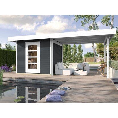 Casetta da giardino in legno line antracite 590 x 300 cm for Casette in legno obi