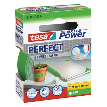 Tesa nastro telato Extra Power Perfect verde 2,75 m x 19 mm