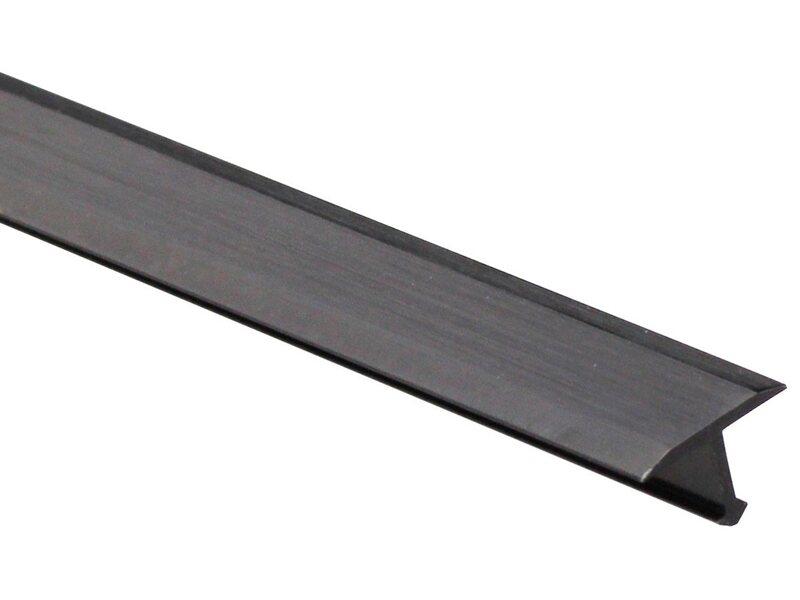 Profilo coprigiunti a t in alluminio nero anodizzato spazzolato