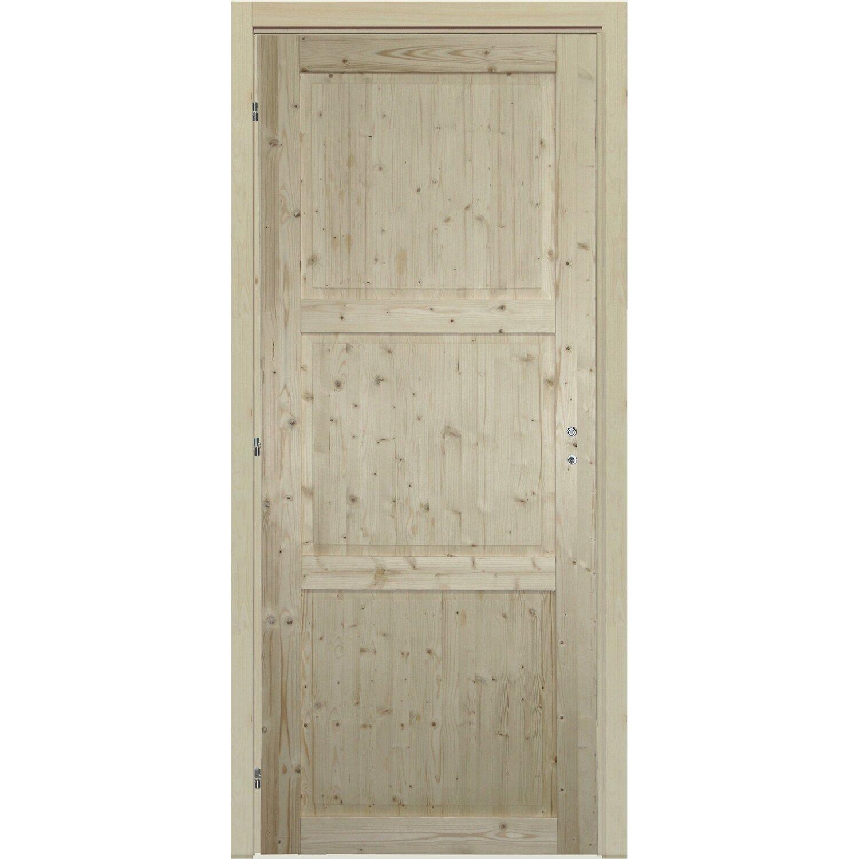Porta reversibile stelvio abete grezzo 80 cm x 200 cm con for Porte in legno grezzo