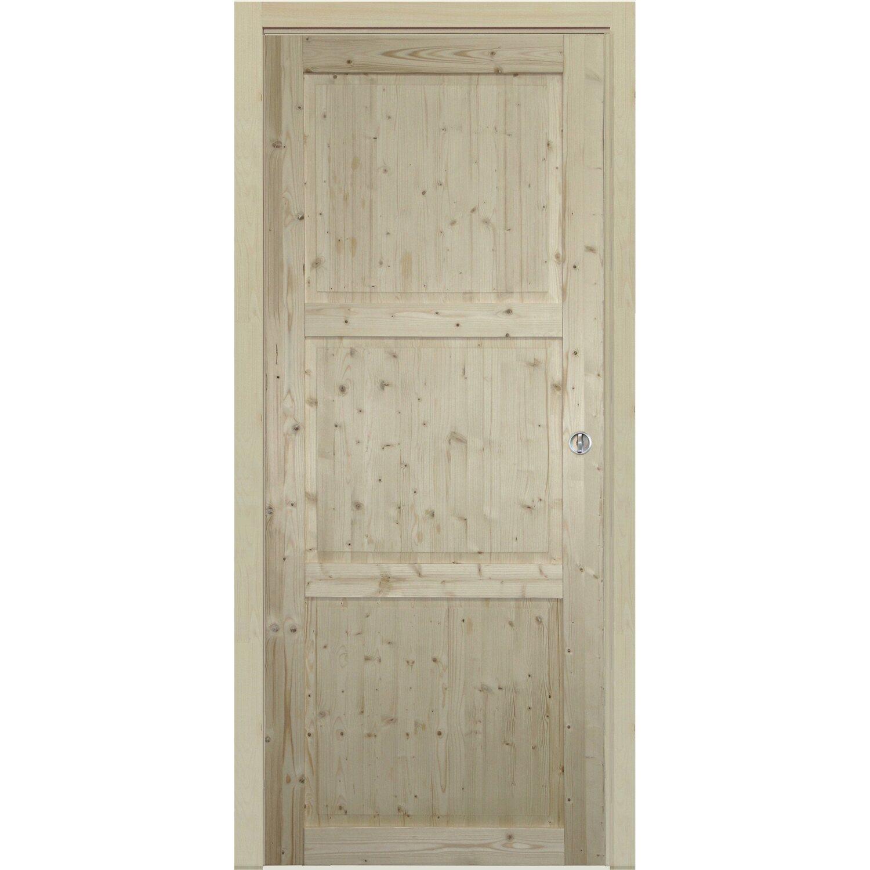 Porta scorrevole stelvio abete grezzo 80 cm x 210 cm con - Porte interne obi ...