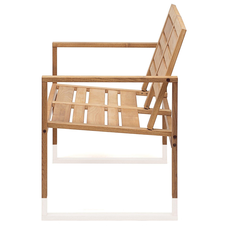 Divano 2 posti da esterno serie Noah in legno di robinia oliata