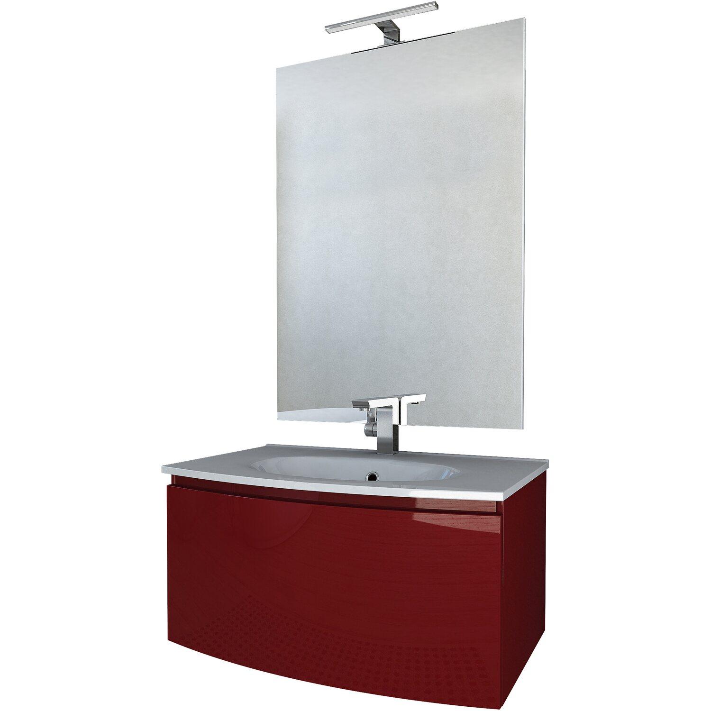 Mobili Arredo Bagno Obi.Composizione Silk 80 Cm 70 Cm X 100 Cm Rosso Lucido