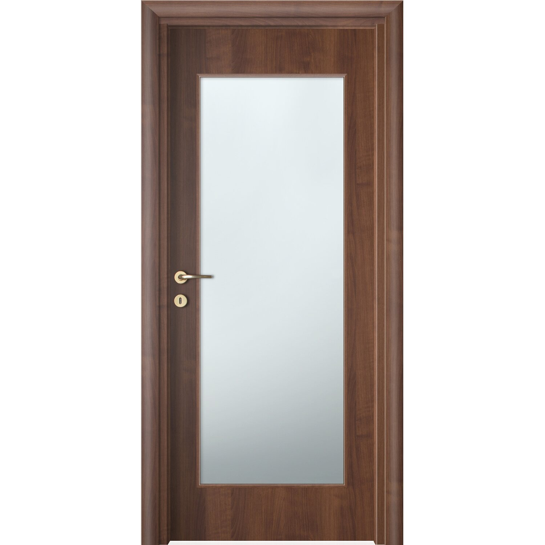 Porta battente vetrata reversibile badia noce 200 cm x 60 for Porte 60 x 50