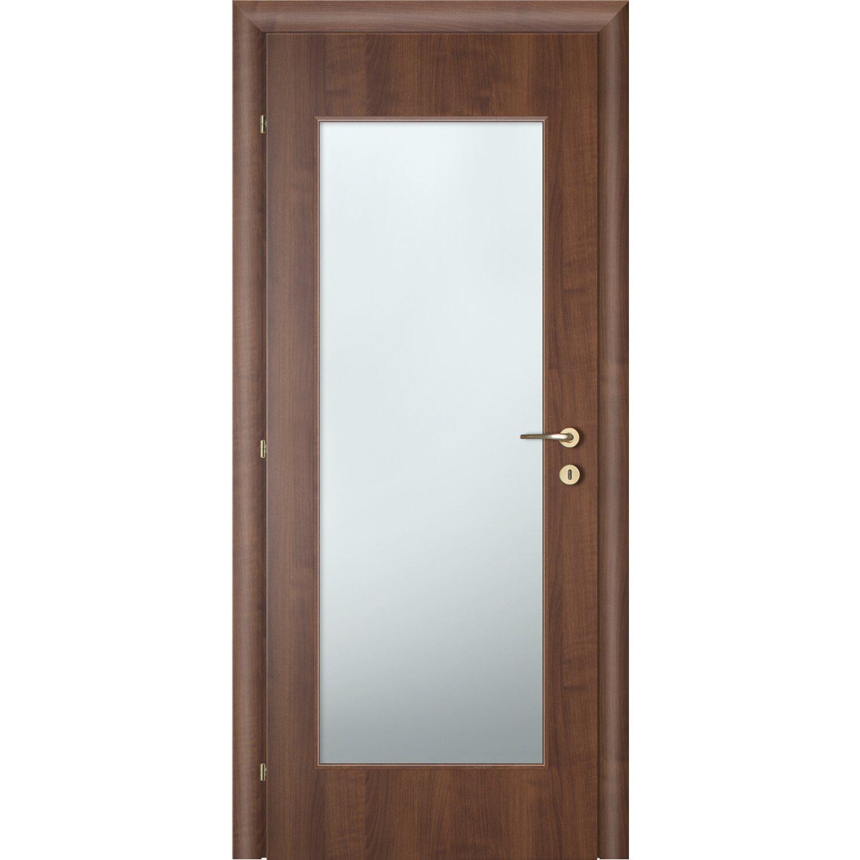 porta battente vetrata reversibile badia noce 200 cm x 60