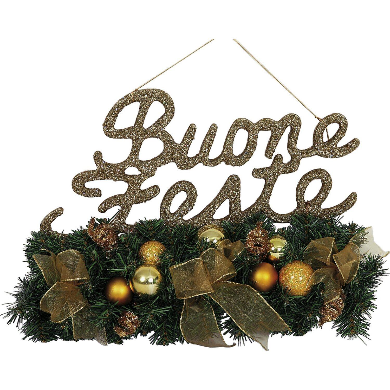 Decorazione per porta buone feste glitterata oro acquista for Decorazione natalizia per porta