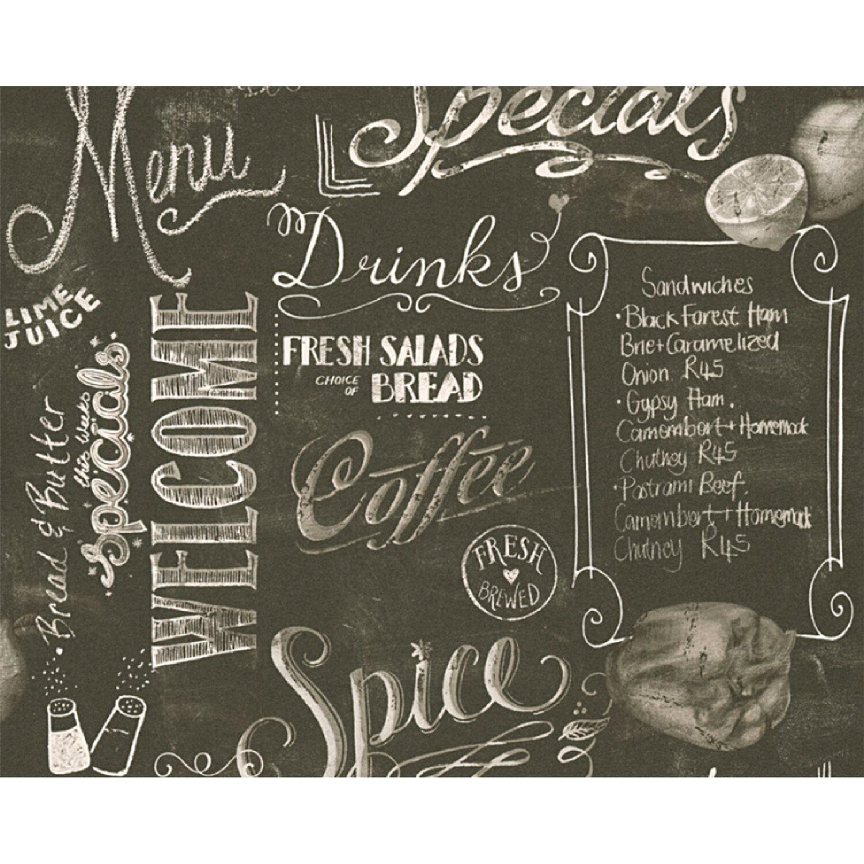 Carta Da Parati Vinilica Per Cucina carta da parati pvc lavagna menu grigio