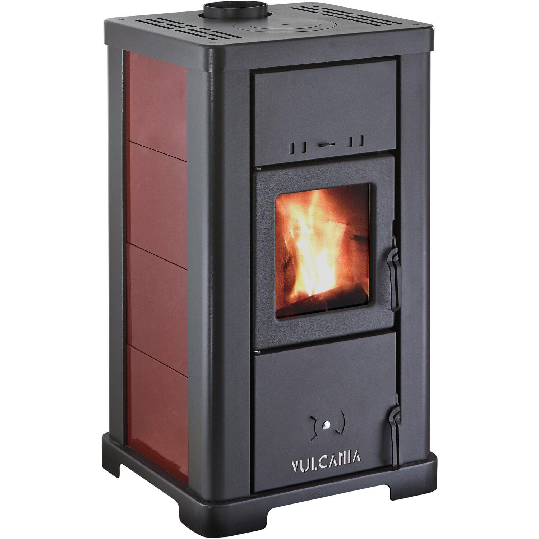 Vulcania stufa a legna steel fiamma visibile 8 kw acquista for Obi stufe a legna catalogo