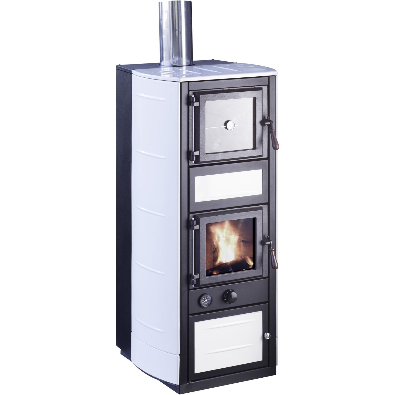 Forno A Legna Con Camino vulcania termostufa a legna con forno pomice 27 kw bianco | obi