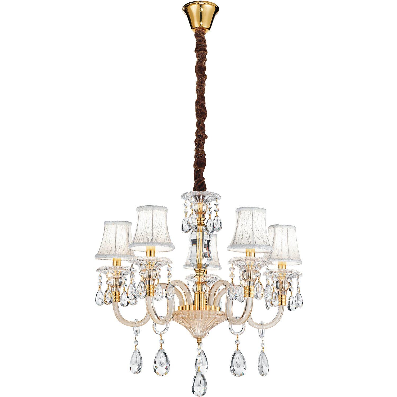 LUCE ambiente Design lampadario Monet in vetro e cristallo con paralumi 5  luci