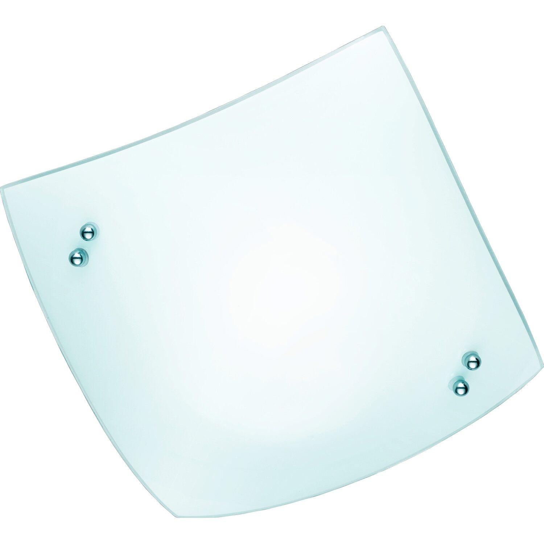 Trio plafoniera quadrata Busa in vetro satinato bianco 23 cm x 23 ...