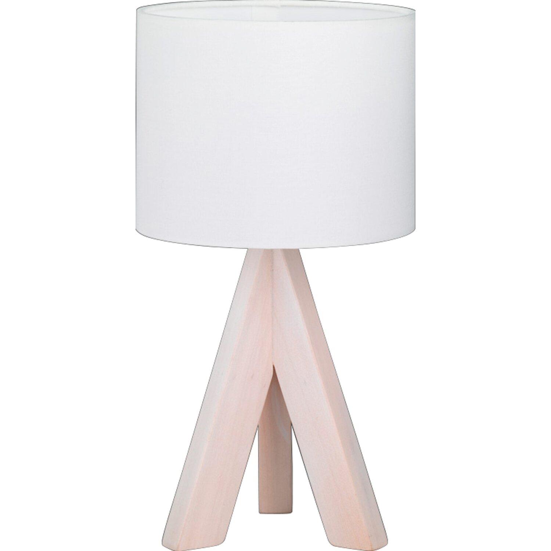 Lampada Da Tavolo In Legno Naturale.Trio Lampada Da Tavolo Ging 3 Piede Legno Naturale Paralume Bianco 31 Cm X 17 C