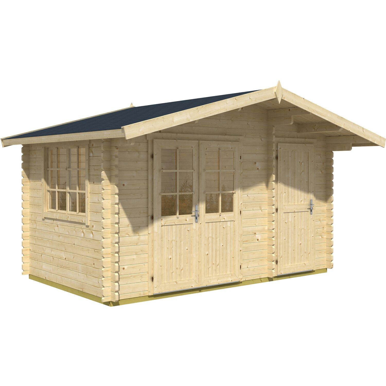 Casetta blockhouse in legno borkum 410 cm x 320 cm x 257 for Casette in legno obi