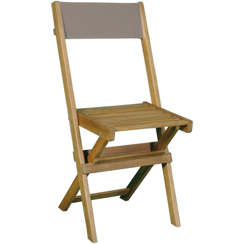 Sedia pieghevole in legno di acacia con schienale in