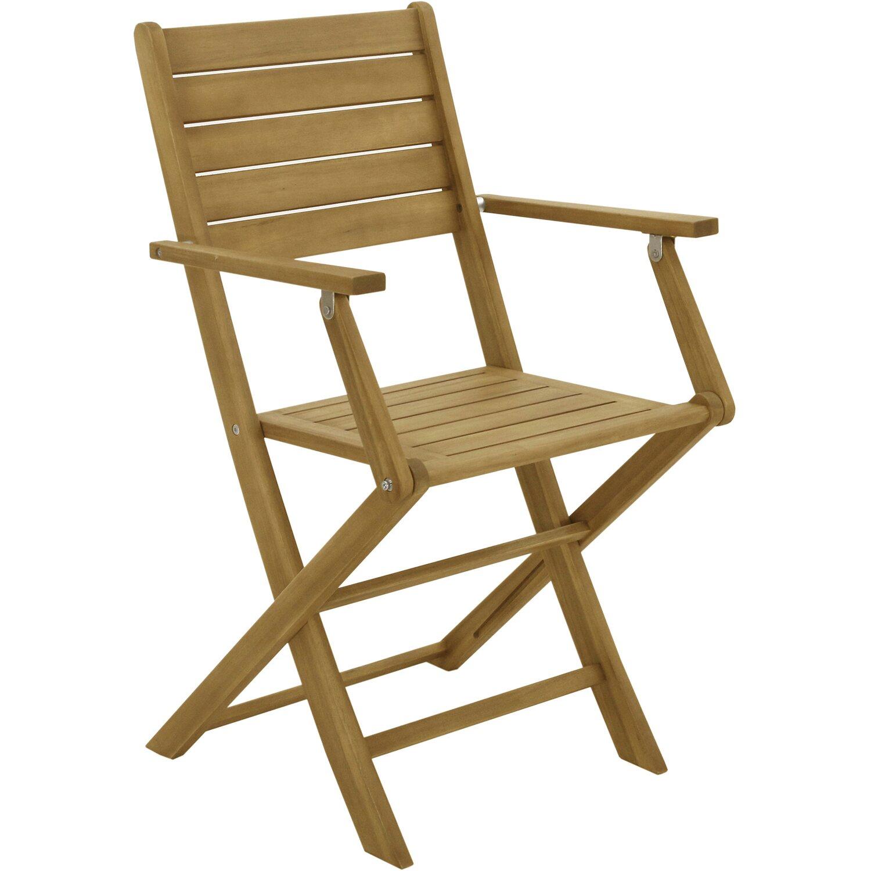 Sedia pieghevole in legno di acacia con braccioli acquista da OBI