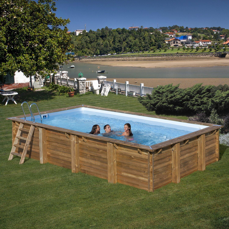 Gre piscina in legno rettangolare evora 600 x 400 x 133 cm for Attrezzi per piscina