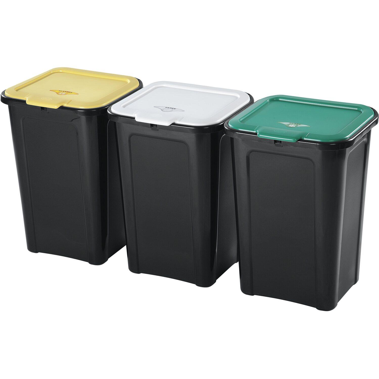 Box Per Bidoni Spazzatura set 3 pattumiere per raccolta differenziata 45 l