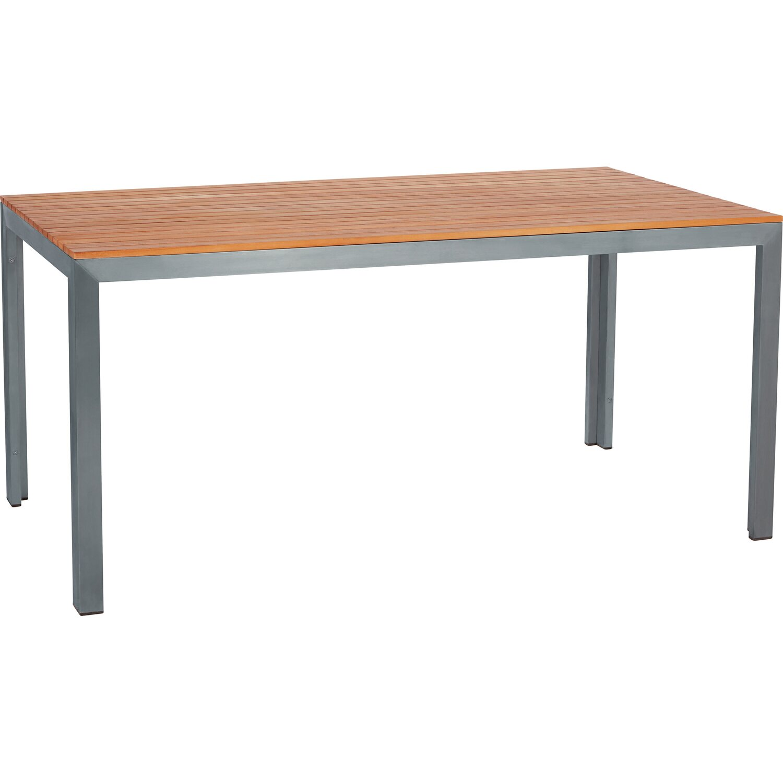 Tavolo da pranzo in acciaio Inox e teak 160x P80 x H75cm