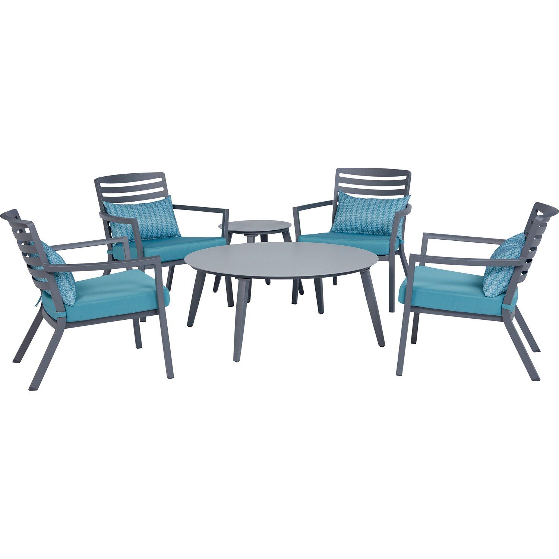 Tavoli E Sedie Da Giardino Obi.Set Da Giardino 6 Pezzi In Alluminio 4 Sedie E 2 Tavolini Obi