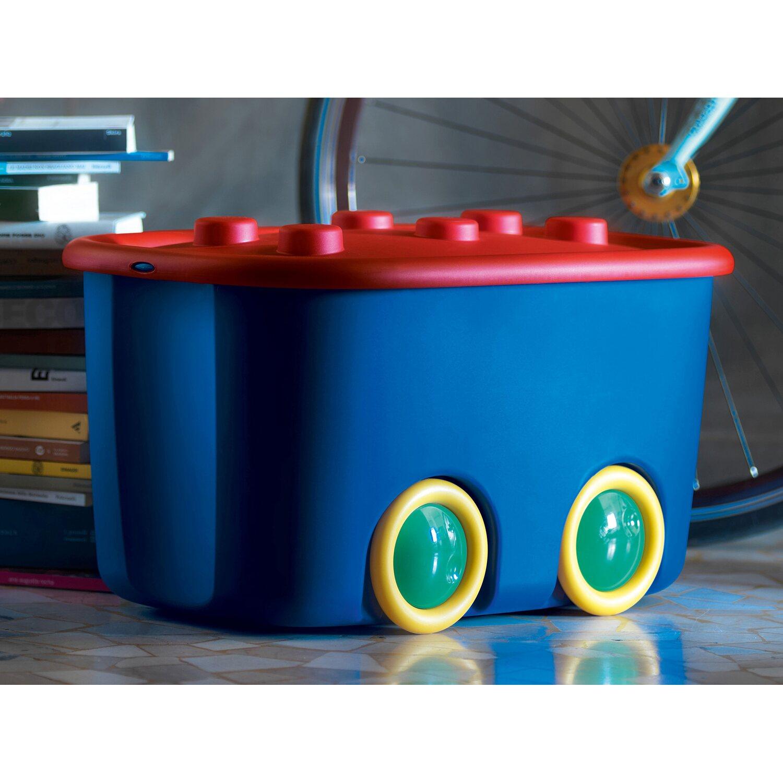 Contenitori Per Giocattoli In Plastica.Kis Contenitore Funny Box Con Ruote Blu Rosso 58 Cm X 38 Cm X 32 Cm
