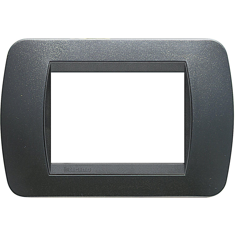 Bticino Livinglight Placca 3 Moduli In Tecnopolimeri Acciaio Scura