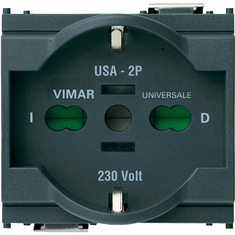 Vimar idea presa 2p t 16a 250 v universale colore grigio for Placche prese elettriche