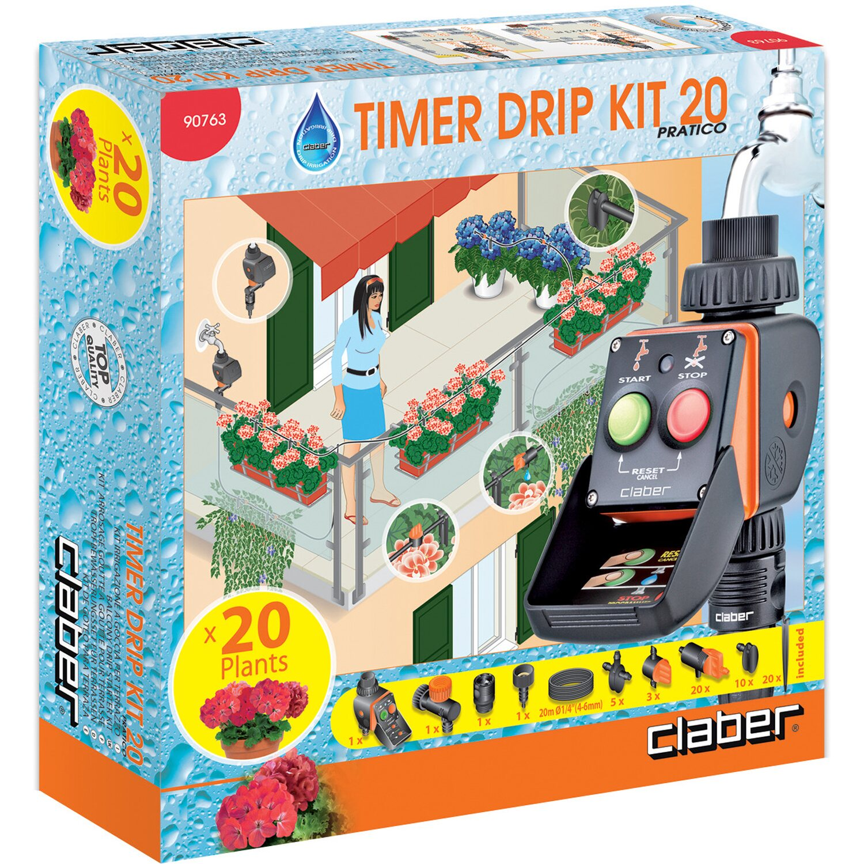 Claber Kit Irrigazione A Goccia 20 Vasi Con Timer Kit 20 Pratico