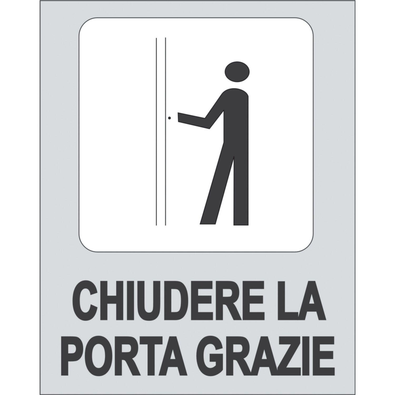 Targhetta adesiva chiudere la porta grazie in propilene - Chiudere la porta ...
