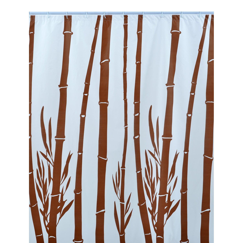 Tenda doccia in vinile bambu marrone 180 cm x 200 cm - Tende in bambu per esterni obi ...