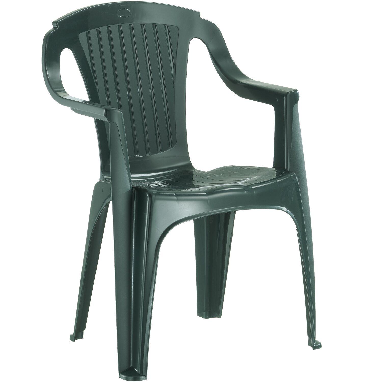 Sedia monoblocco rimini schienale basso in resina verde for Obi tavoli giardino