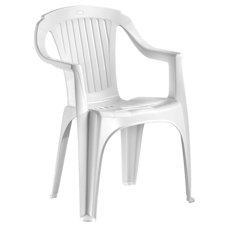 Sedia monoblocco rimini schienale basso in resina bianca - Sedie da giardino in plastica ...