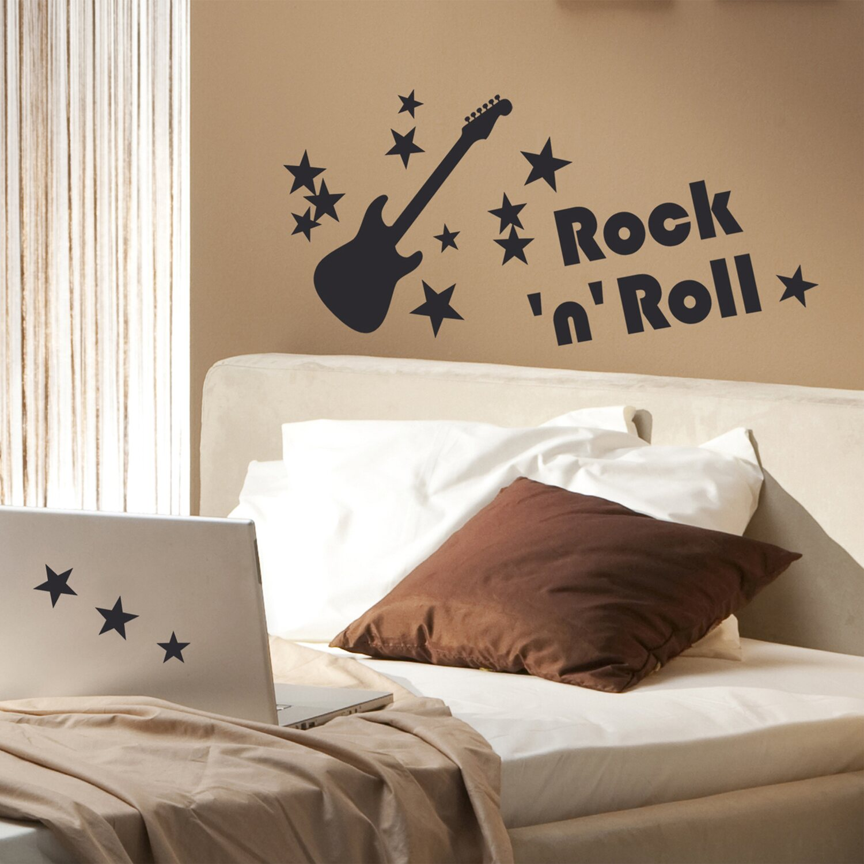 Decorazioni adesive per parete con effetto glitter rock n for Adesivi da attaccare al muro