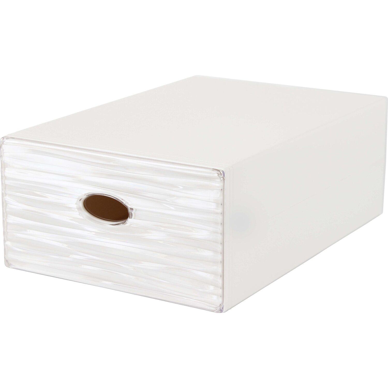 Cassetti In Plastica Componibili.Contenitore A Cassetto Decorativo Qbox Wave Grigio