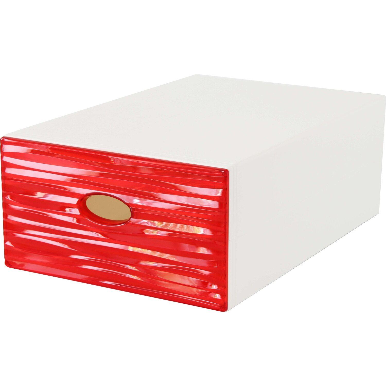 Cassetti In Plastica Componibili.Contenitore A Cassetto Decorativo Qbox Wave Rosso