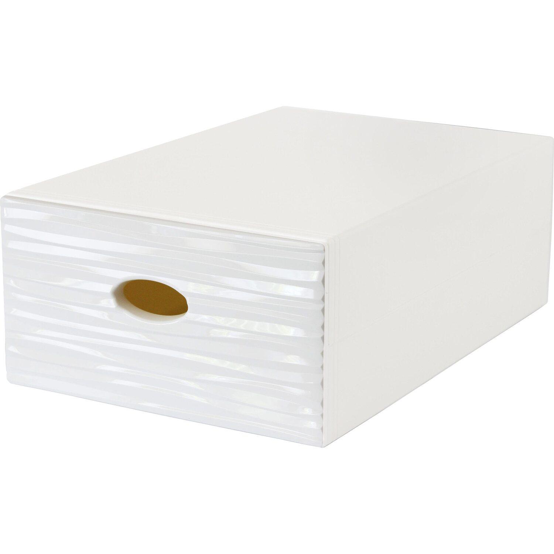 Cassettiere In Plastica Per Armadi.Contenitore A Cassetto Decorativo Qbox Wave Bianco