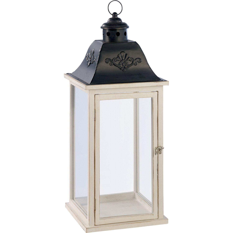 Lanterna in legno 20 cm x 20 cm x 50 cm bianco grigio - Lanterne da interno ...