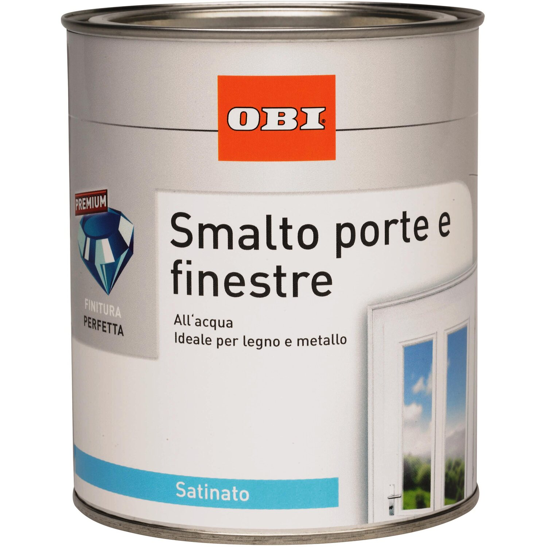 Obi smalto satinato porte e finestre marrone 750 ml - Pittura idrorepellente per esterni trasparente ...
