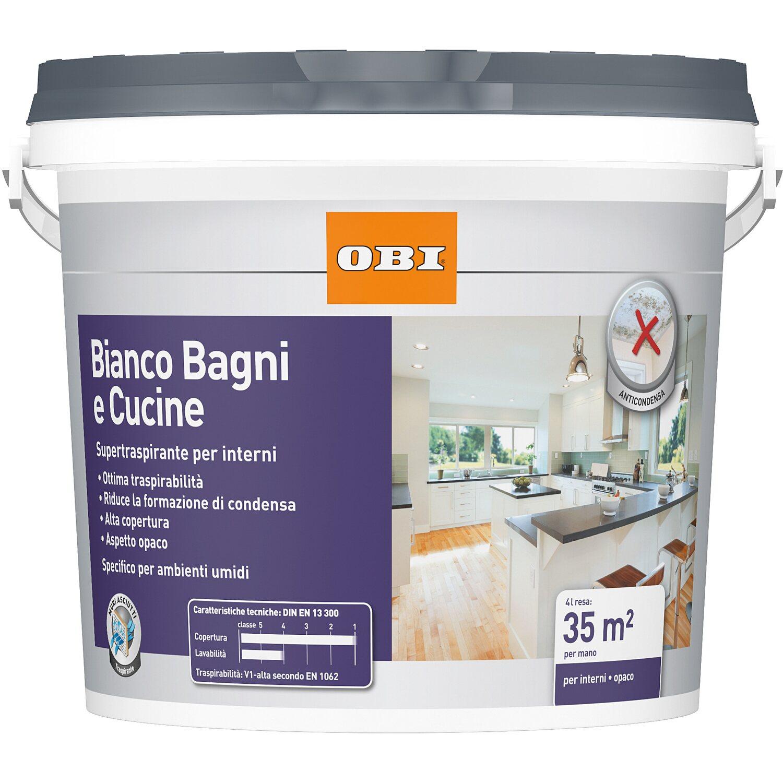 Pittura Bianca Per Interni Obi.Obi Idropittura Super Trraspirante Bianco Bagni E Cucine 4 L