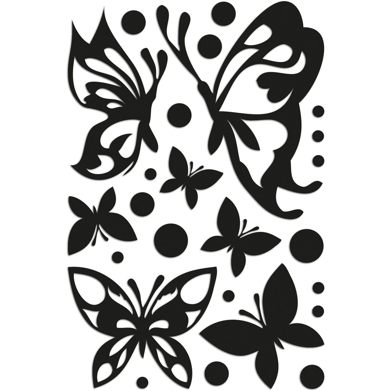 Decorazioni adesive in gomma Butterflies Silhouettes