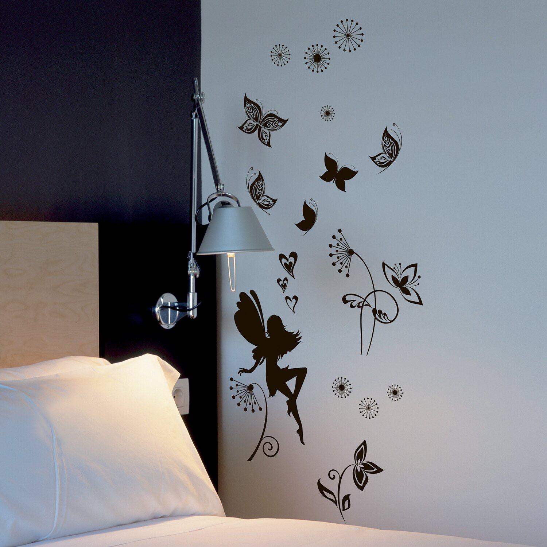 Decorazioni Per Pareti Adesive.Decorazioni Adesive Per Parete Fatina E Farfalle