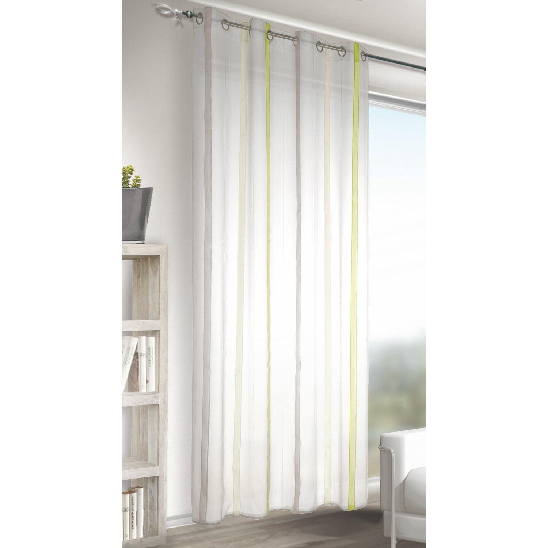 Tenda con anelli a strisce verticali colore verde grigio for Tende a righe verticali