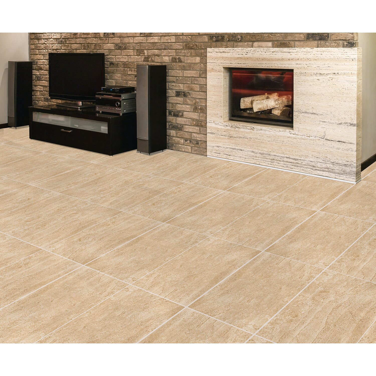 Pavimento gres porcellanato travertino beige 30,2 cm x 60,4 cm ...