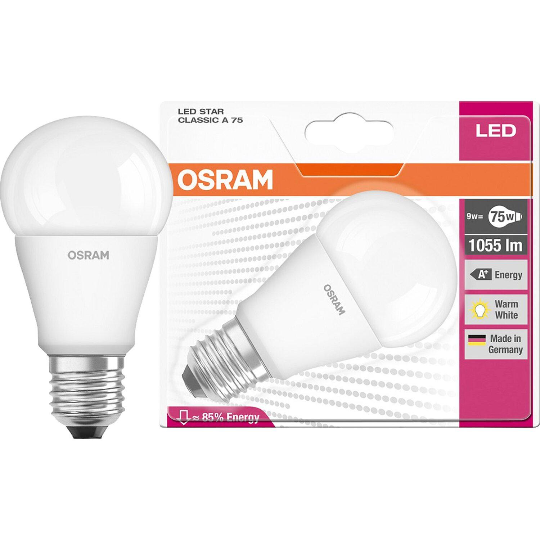 Osram lampada led star classic a 75 ww e27 bli a goccia for Lampadine led watt